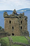 Tower of Urquhart Castle on Banks of Loch Ness  Drumnadrochit  Scotland  United Kingdom