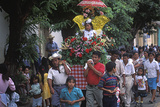 Girl on Flower-Covered Float  Holy Week Procession  Nahuizalco  El Salvador