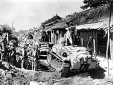 Japanese Tanks and Soldiers During Battles Against British Troops  Peninsula of Malaya  1942