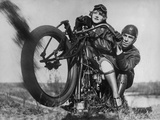 The American World Champion Motorcyclist Orie Steele with a Photographer  1927