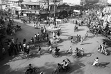 Chaos  Cycles and Rickshaws at City Road Intersection  Varanasi  Uttar Pradesh  India  1982