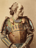 Portrait of a Samurai of Old Japan Armed with Full Body Armour  1890 (Hand Coloured Albumen Photo)