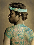 Portrait of a Man with Traditional Japanese Irezumi Tattoos  C1880 (Hand Coloured Albumen Photo)