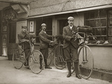 Portrait of Three Young Men with Bicycles Outside a Train Station  Kent  UK  C1920