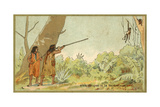 South American Indians Hunting Monkeys with Blowpipes
