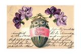 Glückwunsch Ostern  Bemaltes Osterei  Veilchen
