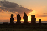 Moai in the Rapa Nui National Park during the Sunset  Easter Island  Chile  South America