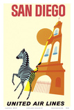 San Diego  California - Zebra - San Diego Zoo - Balboa Park - United Air Lines