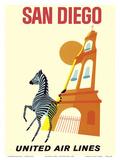 San Diego, California - Zebra - San Diego Zoo - Balboa Park - United Air Lines Reproduction d'art