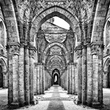 Historic Ruins of Abandoned Abbey in Black and White