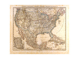 Map of the USA and Mexico  1872
