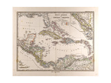 Map of the West Indies and Central America  1872