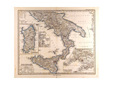 Map of South Italy  1872