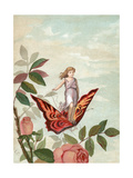 Fairy Riding a Butterfly Among Roses  1882