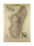 Map of Madagascar and Comoros 1896