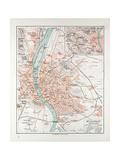 Map of Budapest Hungary 1899