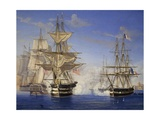 Naval Battle Between French and British  Oil on Canvas