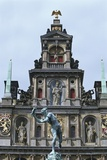 Statue in Front of a Town Hall  Antwerp  Flanders  Belgium
