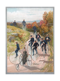 Group Riding Penny-Farthing Bicycles  1887