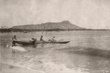 Native Hawaiian Canoe Surfers at Diamond Head  C1890S
