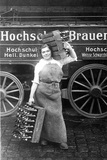 Woman Carrying Beer Bottle from the Hochschul Brewery in Berlin  1916