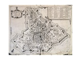 City Map of Padua  Italy  17th Century