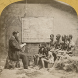 White Man Reading to a Group of African-American Men and Boys