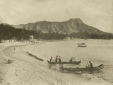 Native Hawaiian Canoe Surfers at Diamond Head  C1890S