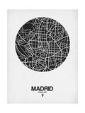 Madrid Street Map Black on White
