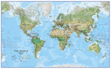 World Physical Megamap 1:20  Laminated Wall Map