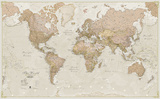 World Antique Megamap 1:20  Laminated Wall Map