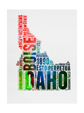 Idaho Watercolor Word Cloud