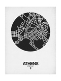 Athens Street Map Black on White