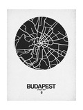 Budapest Street Map Black on White