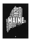 Maine Black and White Map