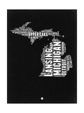 Michigan Black and White Map