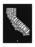 California Black and White Map