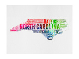 North Carolina Watercolor Word Cloud
