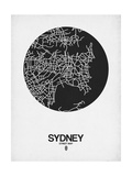 Sydney Street Map Black on White