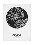 Geneva Street Map Black on White