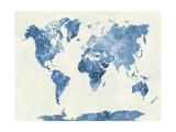 World Map in Watercolor Blue