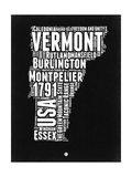 Vermont Black and White Map