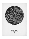 Seoul Street Map Black on White