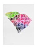 South Carolina Watercolor Word Cloud