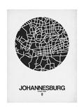 Johannesburg Street Map Black on White
