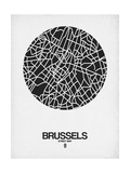 Brussels Street Map Black on White