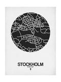 Stockholm Street Map Black on White Reproduction d'art par NaxArt