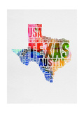 Texas Watercolor Word Cloud