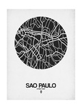 Sao Paulo Street Map Black on White