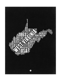 West Virginia Black and White Map